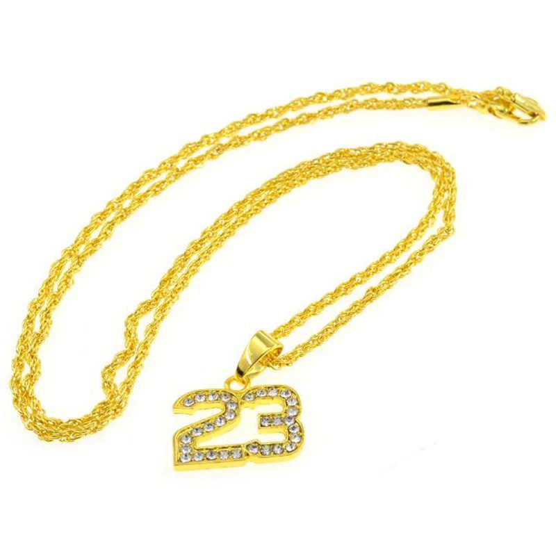 Hip Hop Rap Glamour numer 23 naszyjnik pełny kryształ górski złoty wisiorek naszyjnik popularna biżuteria