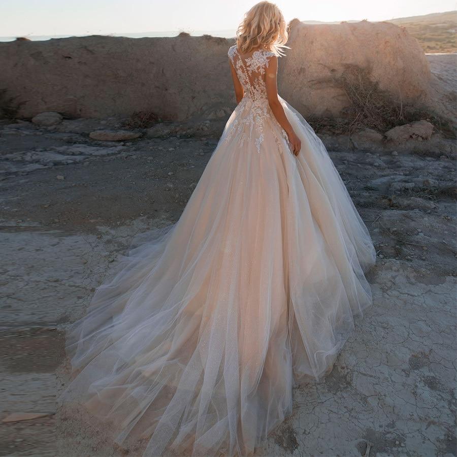 Weilinsha, бальное платье с коротким рукавом и аппликацией, свадебные платья, свадебные платья с круглым вырезом, блестящее Тюлевое платье для свадьбы, индивидуальный дизайн - 2
