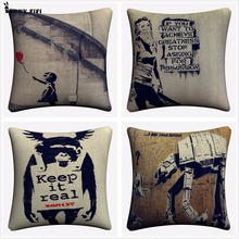Banksy Keep It Real Art Decorative Cotton Linen Cushion Cover 45x45cm For Sofa Chair Pillowcase Home Decor Almofada