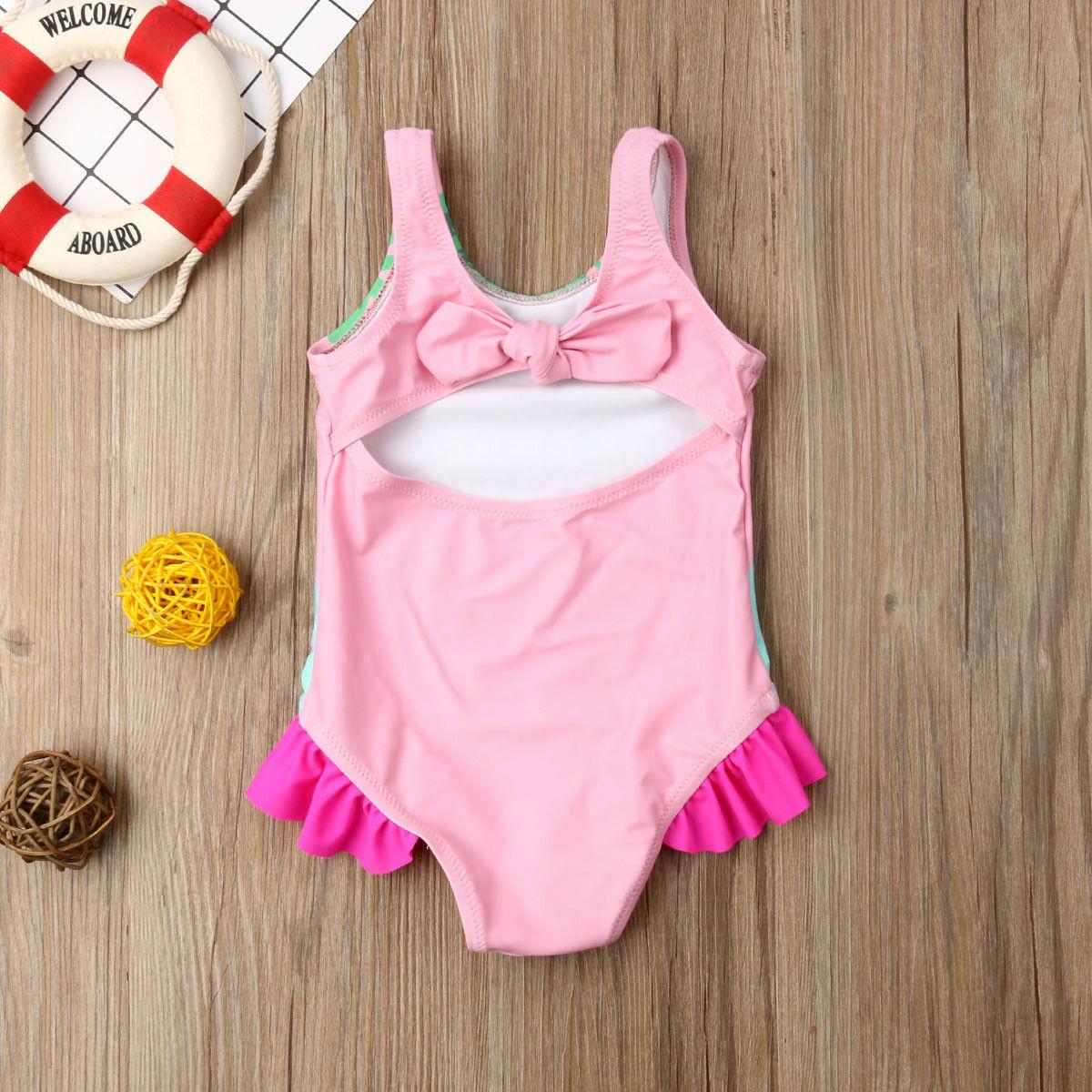 Купальник-бикини с попугаями для маленьких девочек, купальный костюм для детей 0-24 месяцев