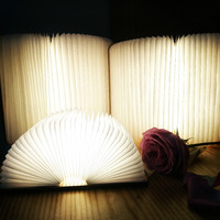 2019 USB Rechargeable LED Foldable Wooden Book Shape Desk Lamp Nightlight Booklight for Home Decor Warm White Light