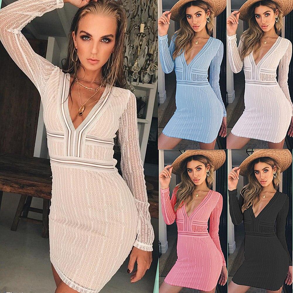 Vestido   Cocktail   Sexy V Neck Long Sleeve Mini   Cocktail     Dresses   2019 White Black See Through Club Night   Dress   Vestidos De Fiesta