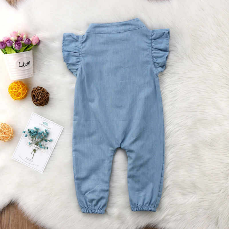 Infant Newborn Baby Girls Denim Romper Playsuit Jumpsuit Sunsuit Outfit Clothing Baby Girl Clothes O-neck Short Sleeve 0-24M