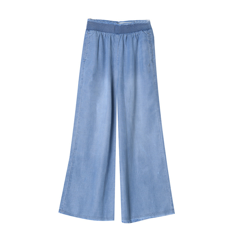 2019 Spring Summer Fashion Washed Blue Jeans Women High Waist Wide Leg Denim Pant Lady Casual Loose Trousers in Jeans from Women 39 s Clothing