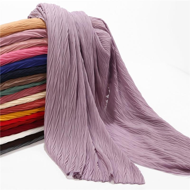 Malaysia New Pearl Chiffon Fold Scarf Fashion Leaf Crushed Monochrome Silk Hijab Turban Muslim Headscarf Wholesale