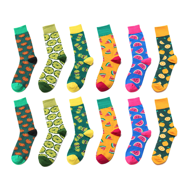 1 Pair Funny Men Socks Color Combed Happy Cotton Men's Socks Casual With Print Knitting Funny Cartoon Animal Novelty Crew Dress