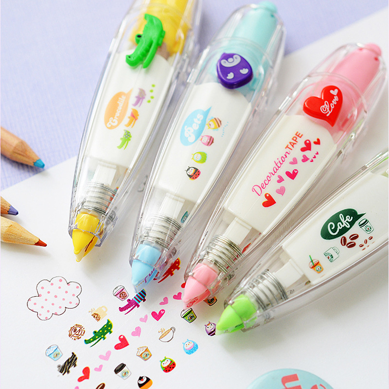 Kawaii Animals Love Heart Press Correction Tape Decorative Pen Diary Type Correction Supplies Stationery School Supplies