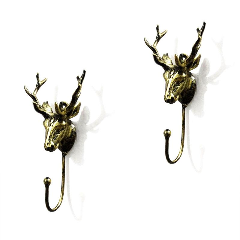 SaiDeng Bronze Deer Wall Mount Coat Hooks Shabby Chic Metal Deer Head Hanger Decor Single Hook Decorative Gift-25
