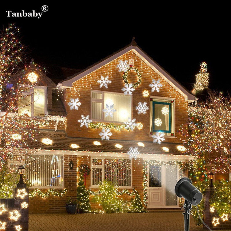 Laser Projector Waterproof Moving Snow Snowflake SpotLight Christmas New Year LED Stage Party Light Garden