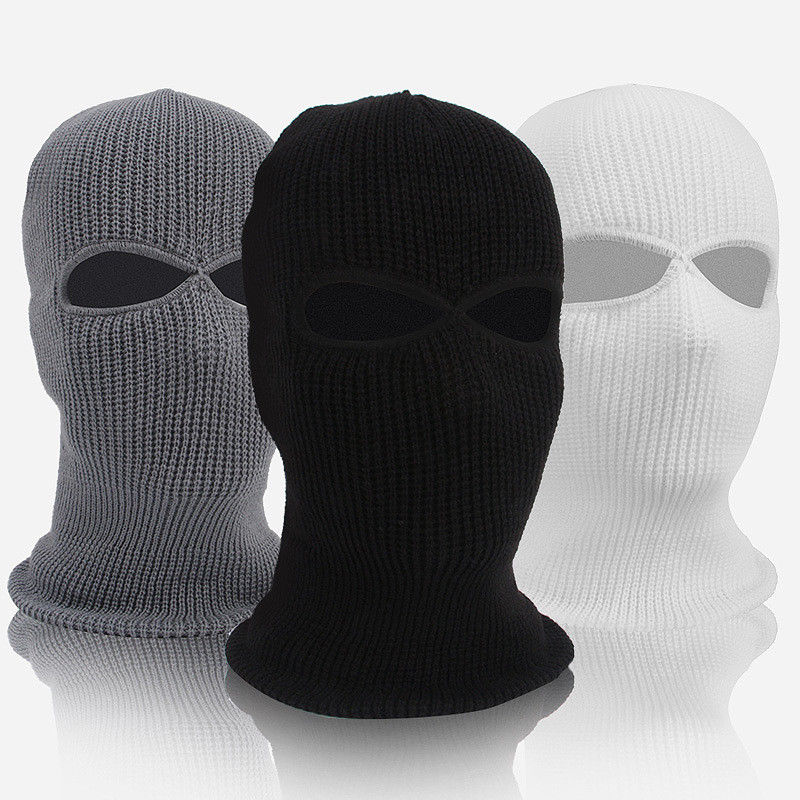 2 Hole Hot Mask Balaclava Black Knit Hat Face Shield   Beanie   Cap Snow Winter Warm