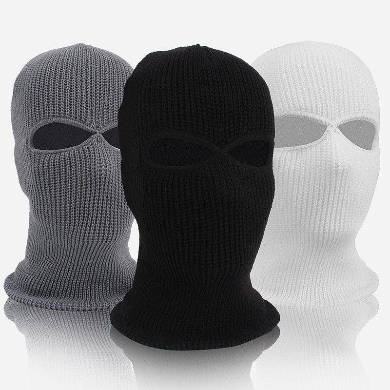2 Hole Hot Mask Balaclava Black Knit Hat Face Shield   Beanie   Cap Snow Winter Warm