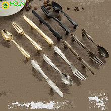 2pcs Fashion Zinc Alloy Cabinet Handles Kitchen Spoon Fork Knife Cupboard Handles Drawer Knobs Novelty Furniture Handle 76mm fixmee fixmee new creative spoon knife fork kitchen cabinet closet drawer handle pulls 76mm