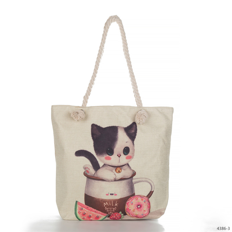 Miyahouse Fashion Cute Cat Printing Women Handbag Wild Large Capacity Shopping Bag Sailor Rope Design Summer Beach Bag Female miyahouse cute cat printed beach bag women large capacity shopping bags vintage female single shoulder bag canvas ladies handbag