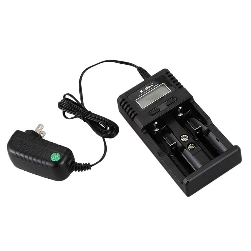 Soshine H2 Intelligent Battery Charger with 2 slot LCD display and car charger for ion 18650 mh aa aaa LiFePO Black
