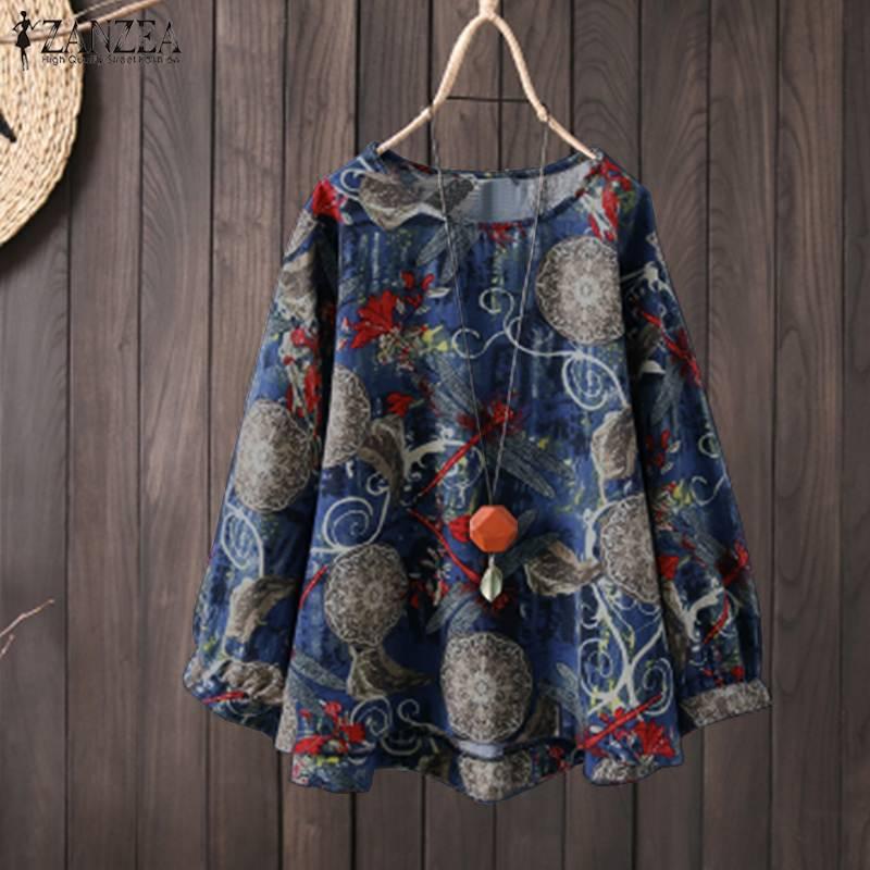 ZANZEA Spring Women Bohemian Blouse Casual O Neck Long Sleeve Vintage Floral Printed Shirt Loose Cotton Linen Top Femme Blusas