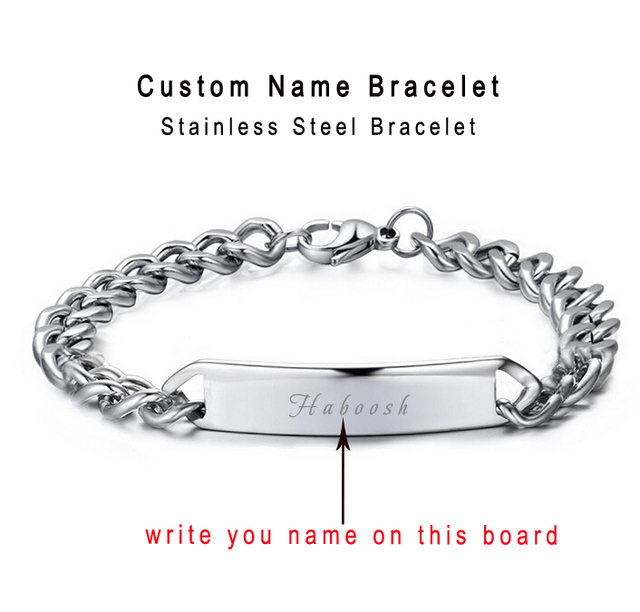 Custom Personalized Bracelet Name Engraved Cowboy Bracelets Men Customized Words Women Jewelry Provide Engrave Gift Box