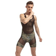 Sexy Lingerie Hot Mens Bodysuits Mesh Transparent Camouflage Body Shaper Wrestling Singlet Undershirt Jumpsuit
