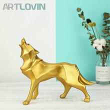 5 Colors Modern Home Decor Wolf Figurines Resin Abstract Totem Dog Sculpture Geometric Golden Animal Statues Decoration