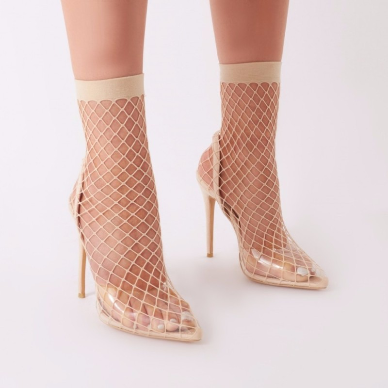 Newest Mesh Cutouts With Transparent Band Hollow Boots For Woman Pointed Toe Thin Heels in Ankle Elastic Band Size 43,44,45Newest Mesh Cutouts With Transparent Band Hollow Boots For Woman Pointed Toe Thin Heels in Ankle Elastic Band Size 43,44,45
