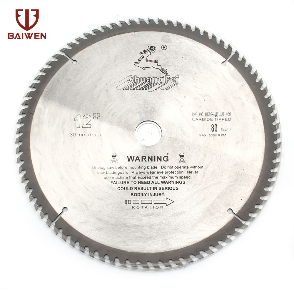 "12"" 305mm Circular Saw Blade Wood/Aluminum Cutting Tool Cemented Carbide 40 60 80 100 Teeth"