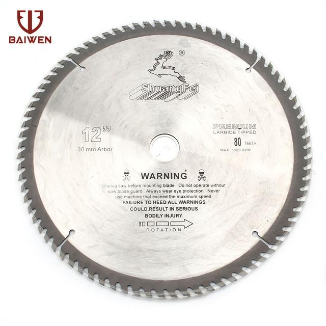 "12"" 305mm Circular Saw Blade Wood Aluminum Cutting Tools Cemented Carbide 40 60 80 100 Teeth"
