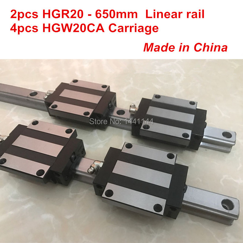 HGR20 linear guide: 2pcs HGR20 - 650mm + 4pcs HGW20CA linear block carriage CNC parts hg linear guide 2pcs hgr20 850mm 4pcs hgw20ca linear block carriage cnc parts