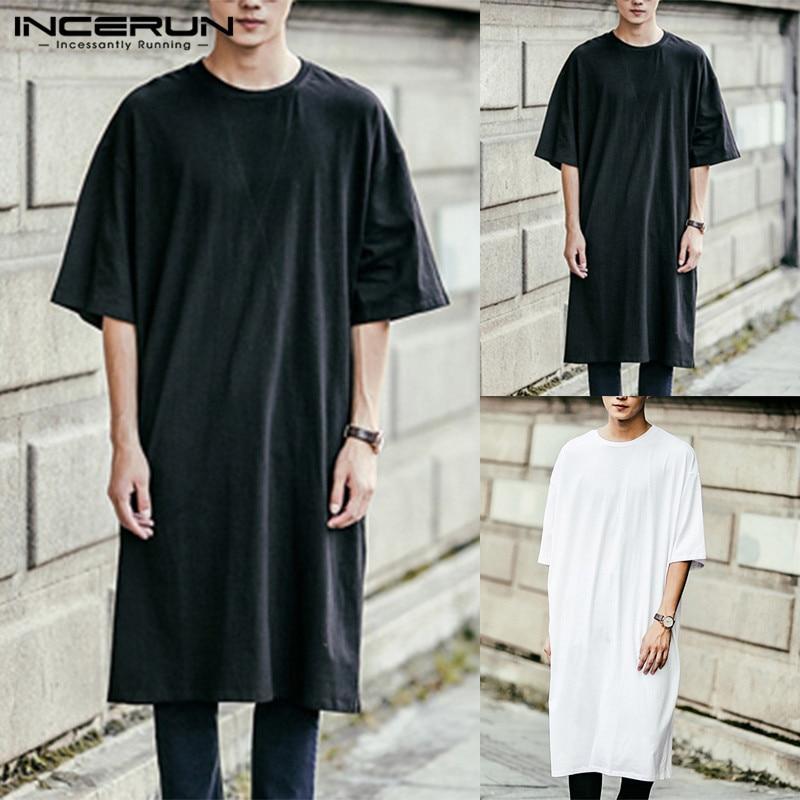 Streetwear Mens Kurta Dress T Shirts Short Sleeve Loose Kaftan Long Tee Jubba Muslim Arab Thobe Islamic Men Clothing Camisas