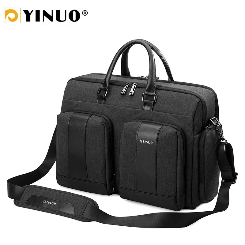 Yinuo Business Men Briefcase Multifunction 15inch Laptop Bag Waterproof Casual Man Shoulder Bags Detachable Handbag
