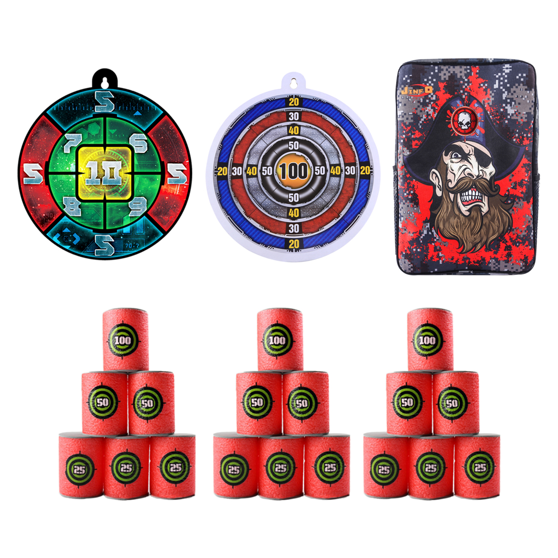 Mustache Pirate Pattern Tactical Target Bag Backpack Soft Bullet Transmitter Dart Board Target Set for Shooting Practice-in Paintball Accessories from Sports & Entertainment