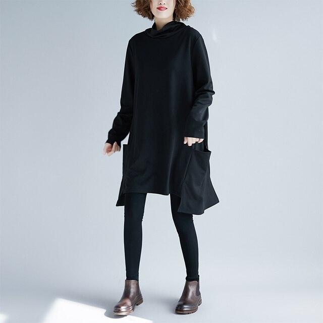 2018 New Women Shirts Loose Turtleneck Full Sleeve Long Blouse Shirt Black 6670
