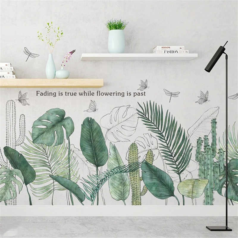 Wall Sticker Green Leaf Literary Modern Living Room Decoration Bedroom Background Nortic Style Flower Mural Art Poster