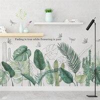 Наклейка на стену с зеленым листом, Современный художественный Декор для гостиной, спальни, нортический стиль, Цветочный плакат с художеств...