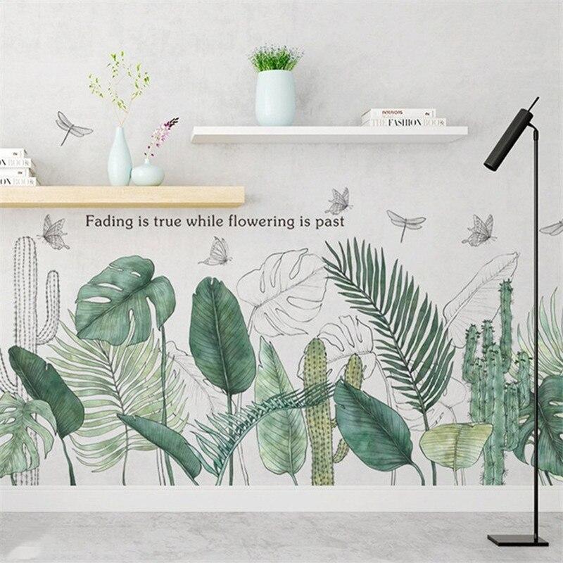 Sticker Mural feuille verte littéraire moderne salon décoration chambre arrière-plan Style nordique fleur murale Art affiche