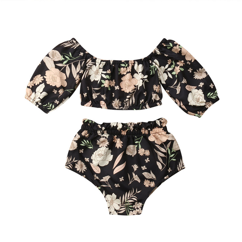 Toddler Kid Baby Girl Off Shoulder Floral T-Shirt Tops Shorts Outfit Clothes Set Girls' Clothing (Newborn-5T) Baby Clothes Shoes