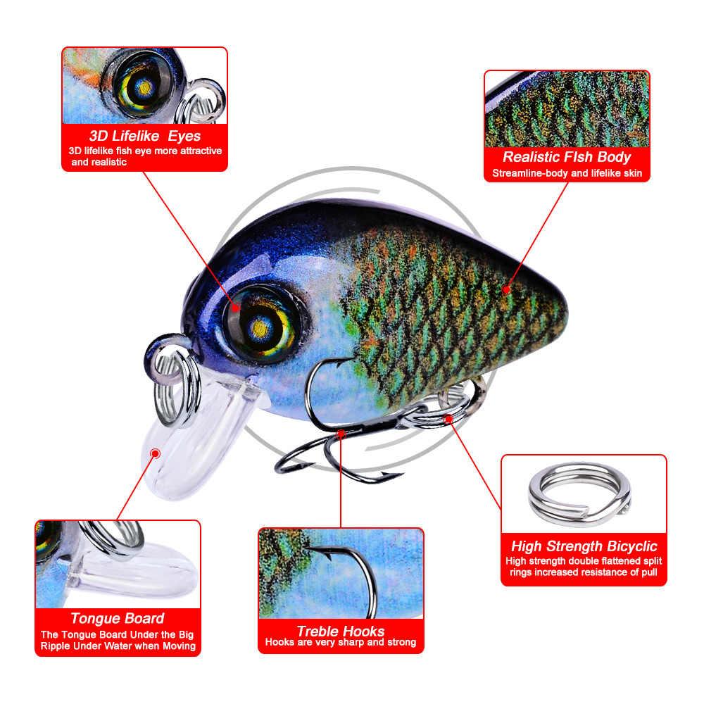 Thunderreceveur 10 pièces coloré manivelle Swimbait dur appât Set pêche Wobblers pêche leurre 2.8 cm 2g