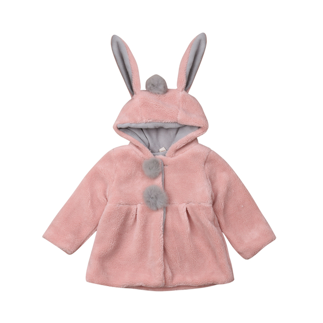 8084dacfd Baby Girls Kids Winter Rabbit Ear Bunny Hooded Coat Long Sleeve Jacket  Outwear Snowsuit Heavyweight Clothes-in Jackets & Coats from Mother & Kids  on ...