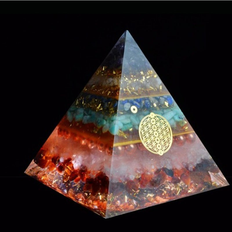 Orgonite Chakra Healing High Frequency Energy Seven Chakra Pyramid Meditation Balance Healing Yoga Transit Resin Decoration
