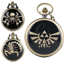 Unique Spider/Scorpion/Zelda Legend Theme Pattern Bronze Black Quartz Pocket Watch for Men Durable Alloy Chain Watches for Women все цены