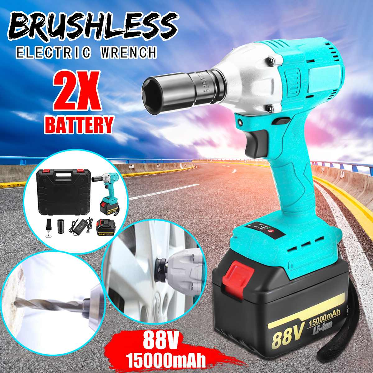 88V 15000mAh Battery Brushless Electric Wrench Dual Speed Impact Wrench Cordless Rechargeable Electric Impact Drill Power Tools electric impact wrench 98 128 168 188vf electric brushless li ion battery wrench 10mm chuk with box cordless speed control power
