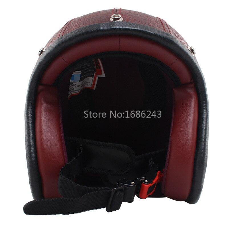 Wine Red PU Leather Fits For Harley Helmets 3 4 Motorcycle Chopper Bike Helmet Open Face