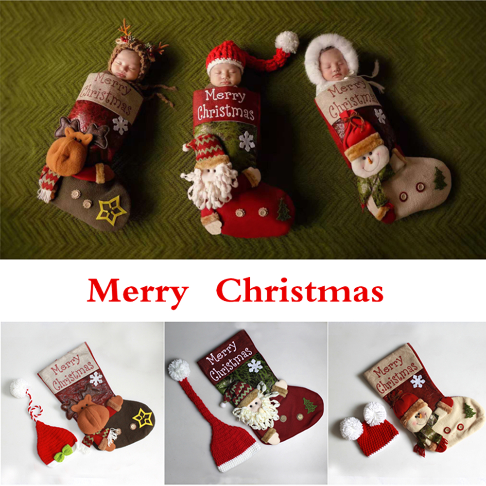 Newborn Photography Props Knitted Christmas Hat+Baby Christmas Socks Sleeping Bag Set Newborn Photo Props Accessories Baby Gifts