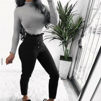 Fashion Women Long Pencil Pants High Waist Elastic Casual Leggings Pants Trousers Streetwear Black Brown Ankle Length Pants