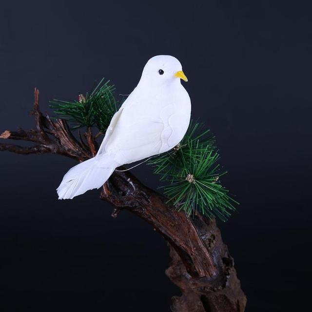 Decorative Fake White Pigeons Foam Artificial Feather Wedding Home Crafts Table Decoration Bird Toy Wedding Decoration