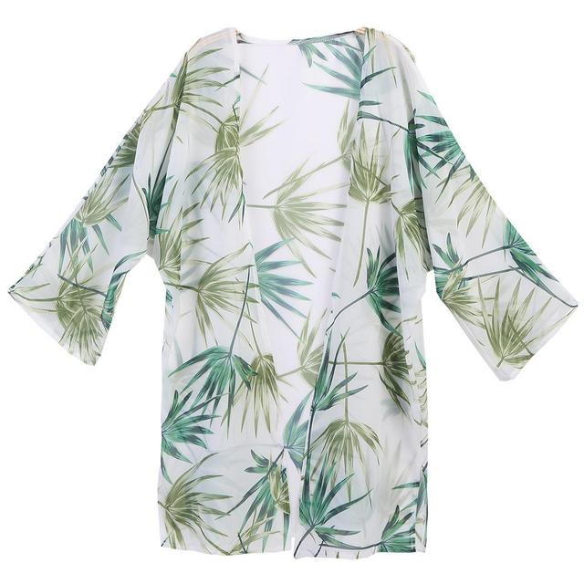Women Print Beach Wear Long Sleeve Bikini Swimwear Cardigan Cover Up Swimming Pool
