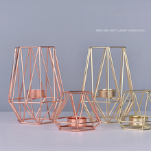 Nordic Style Wrought Iron Geometric Gold Candle Holders Home Decoration Metal Crafts Holder