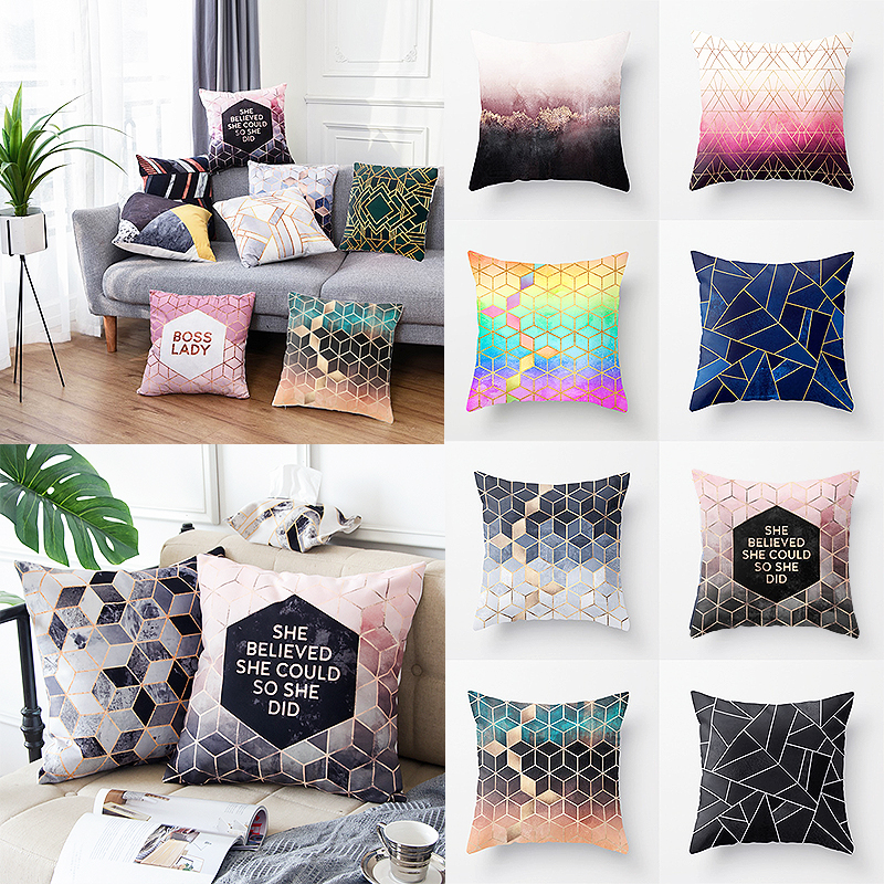 For Pillows Cover Home Accessory Cover Polyester Pillow Case Geometric Nordic Style Black And White 1PC