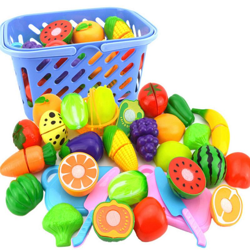 DIY Pretend Play Plastic Food Toy Cutting Fruit Vegetable Food Pretend Play Children For Children Kitchen Toy Set Educational