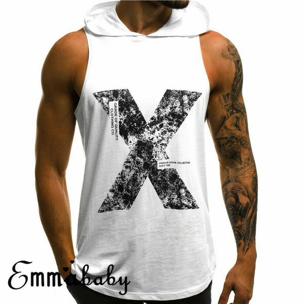 Men Gym Singlet Hoodie Bodybuilding   Tank     Top   Vest Sleeveless Fitness Cotton soft Gym Clothing Letter Print New Fashion   Tank     Tops