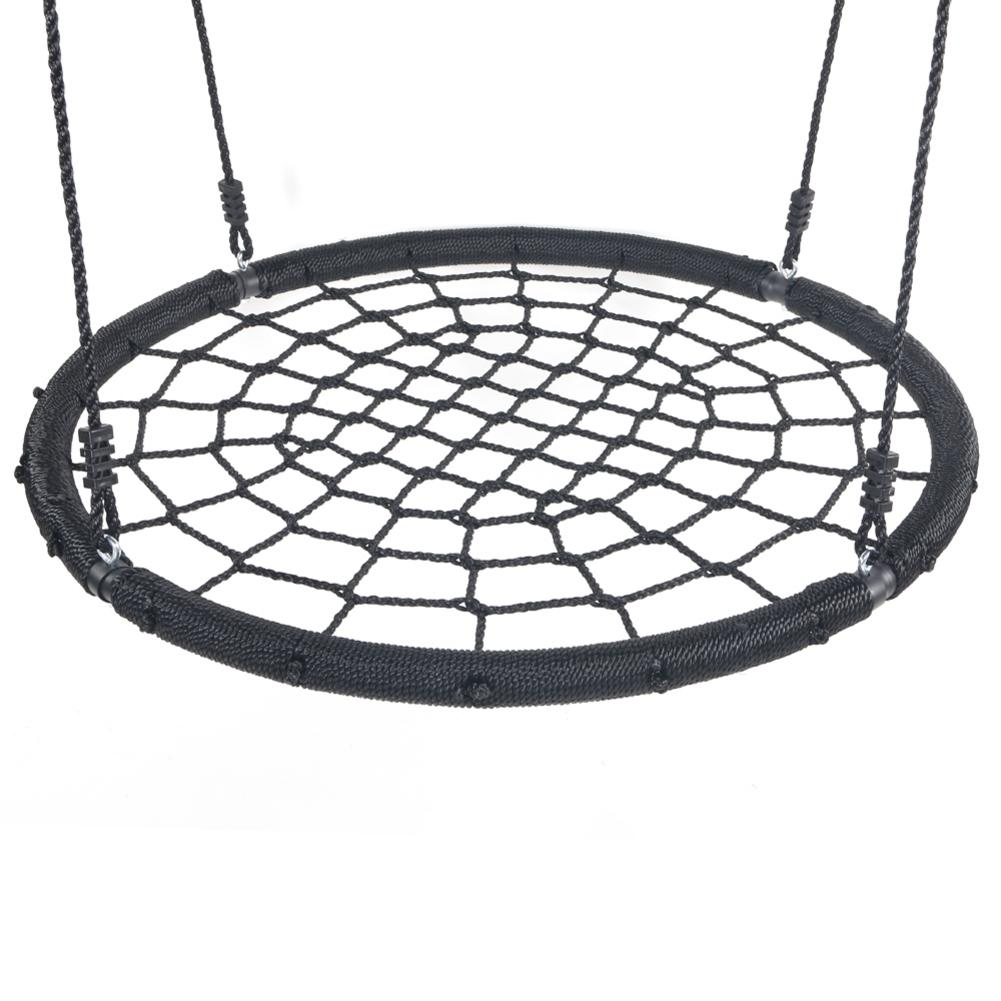"40"" Spider Web Swing Nylon Rope Swivel Tree Net Assembled Black Round Shape Swing Stable Center Safe And Reliable"