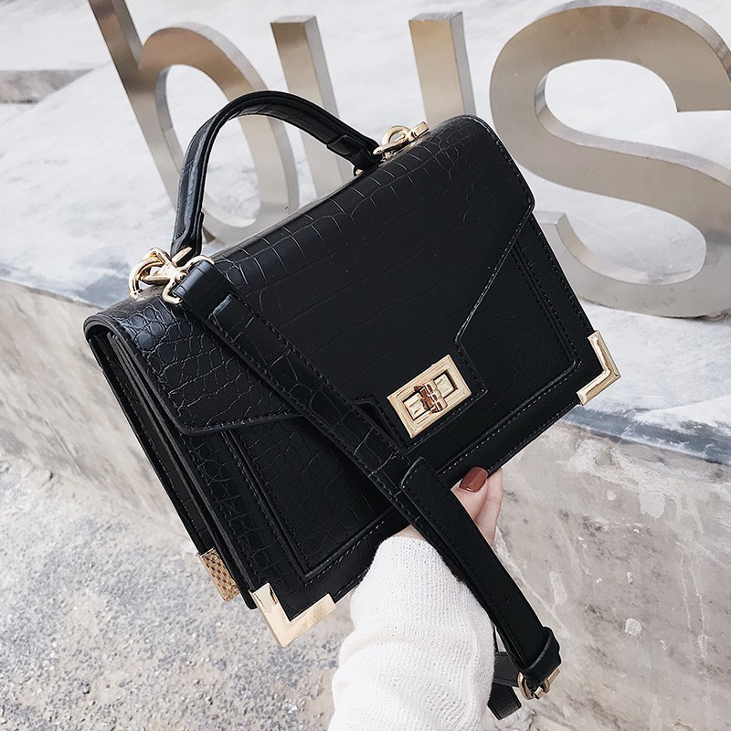 Fashion Female Square Bag 2019 New Quality PU Leather Women Bag Crocodile Pattern Tote Bag Lock Shoulder Ladies Messenger Bags Сумка
